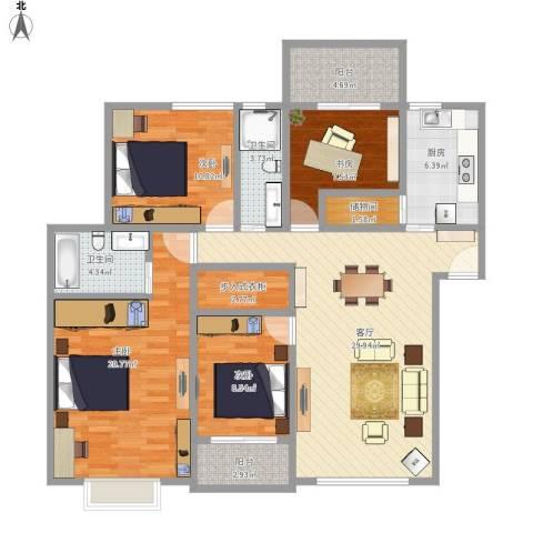 金色池塘4室1厅2卫1厨149.00㎡户型图