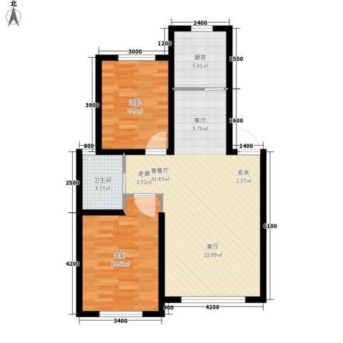 六合・龙城国际2室1厅1卫1厨88.00㎡户型图