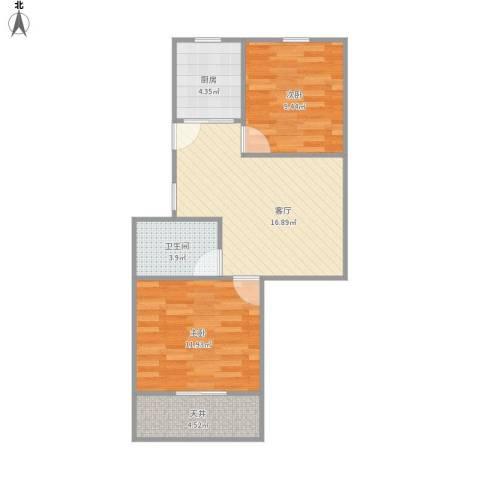 芳华路188弄小区2室1厅1卫1厨69.00㎡户型图