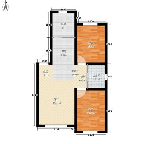 六合・龙城国际2室1厅1卫1厨81.00㎡户型图