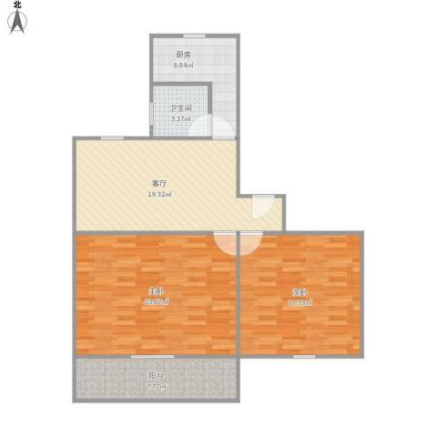 紫叶小区2室1厅1卫1厨103.00㎡户型图
