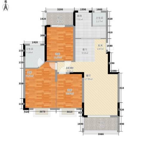 冠豪星城雅郡3室0厅2卫1厨121.00㎡户型图