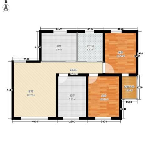 六合・龙城国际2室2厅1卫1厨88.00㎡户型图