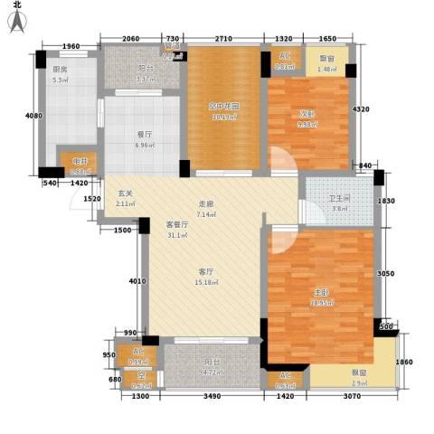 金运花园2室1厅1卫1厨91.46㎡户型图