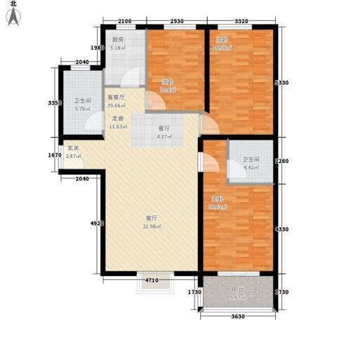 领秀城3室1厅2卫1厨117.00㎡户型图