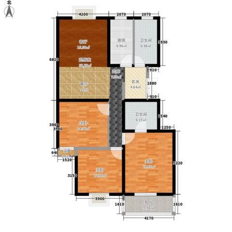 荣德棕榈湾3室0厅2卫1厨127.00㎡户型图