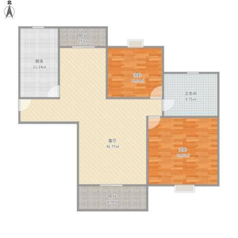 丰水宝邸西2室1厅1卫1厨139.00㎡户型图