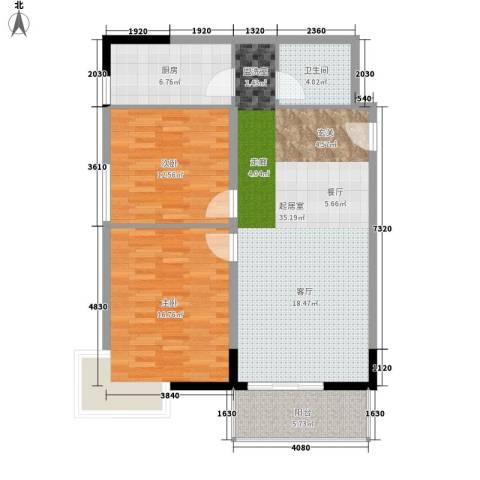 荣德棕榈湾2室0厅1卫1厨90.00㎡户型图