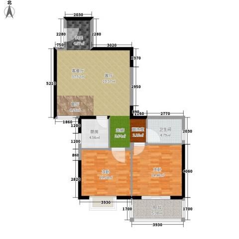 荣德棕榈湾2室1厅1卫1厨89.00㎡户型图