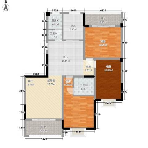 冠豪星城雅郡3室0厅2卫1厨129.00㎡户型图