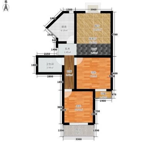 荣德棕榈湾2室1厅1卫1厨88.00㎡户型图