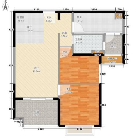 恒大名都2室0厅1卫1厨91.00㎡户型图