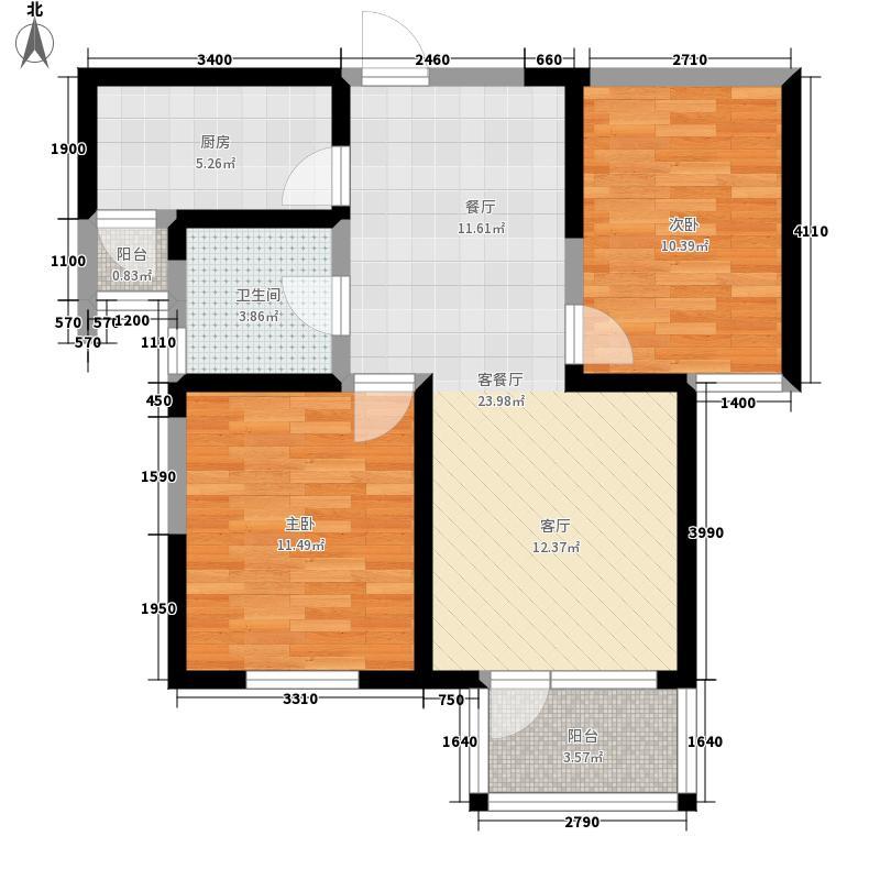 紫竹华庭90.00㎡二期3、4、5号楼标准层B1户型