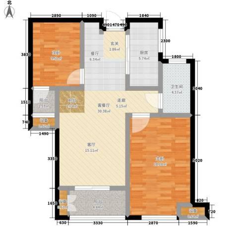 财富公馆2室1厅1卫1厨89.00㎡户型图