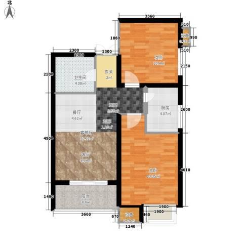 时代SOHO2室1厅1卫1厨80.00㎡户型图