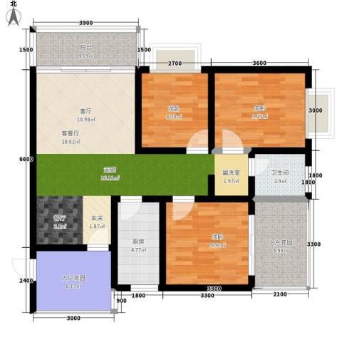 时代SOHO3室1厅1卫1厨100.00㎡户型图