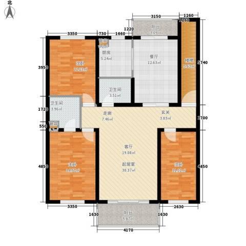 天吉锦程苑3室1厅2卫1厨113.00㎡户型图