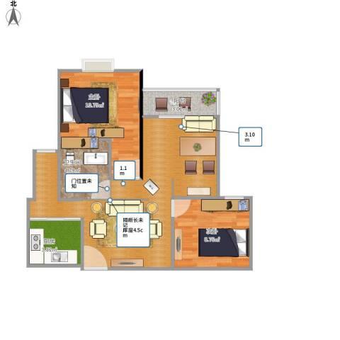 中冶祥腾城市佳园2室1厅1卫1厨76.00㎡户型图