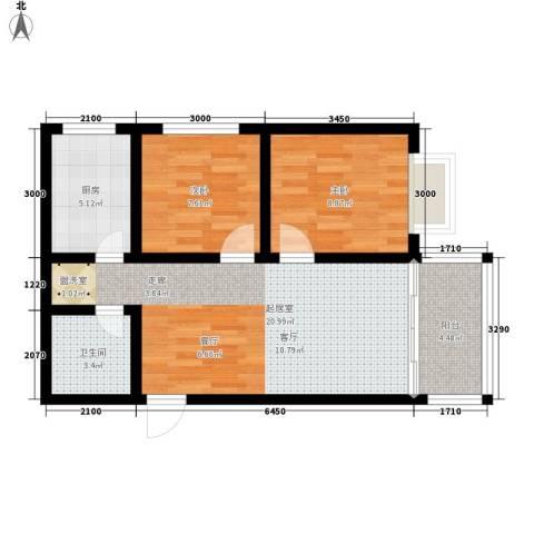 时代SOHO2室0厅1卫1厨66.00㎡户型图
