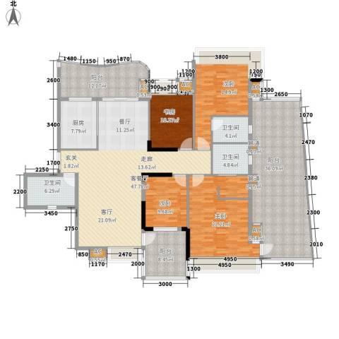 广州雅居乐花园・天域4室1厅3卫1厨208.00㎡户型图