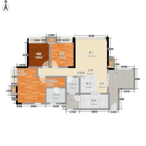 升伟新意境3室0厅2卫1厨104.00㎡户型图