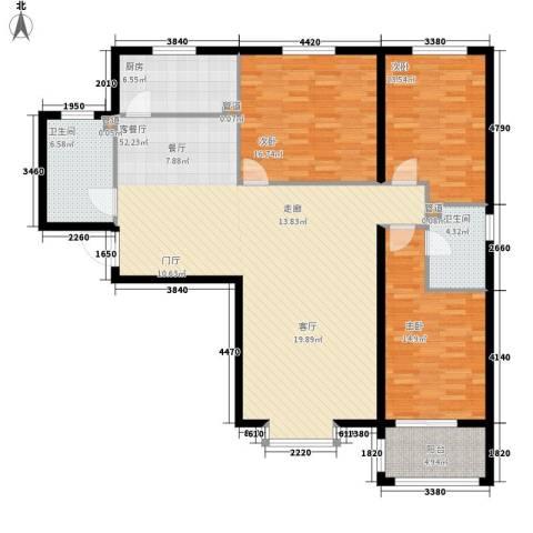 领秀城3室1厅2卫1厨133.00㎡户型图
