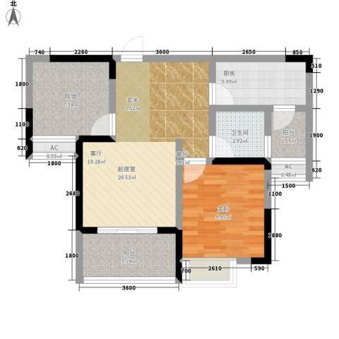 贵博江上明珠1室0厅1卫1厨81.00㎡户型图