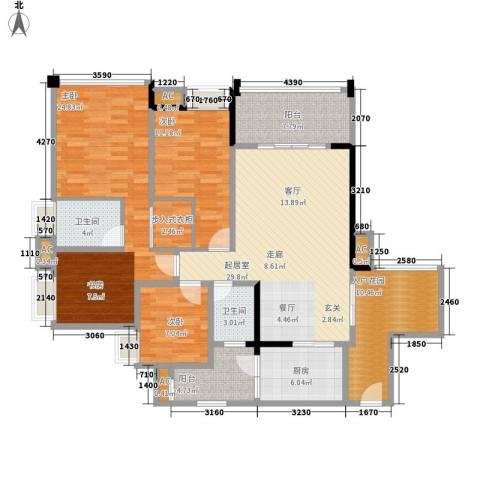 升伟新意境3室0厅2卫1厨132.00㎡户型图