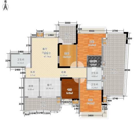 广州雅居乐花园・天域4室1厅3卫1厨204.00㎡户型图