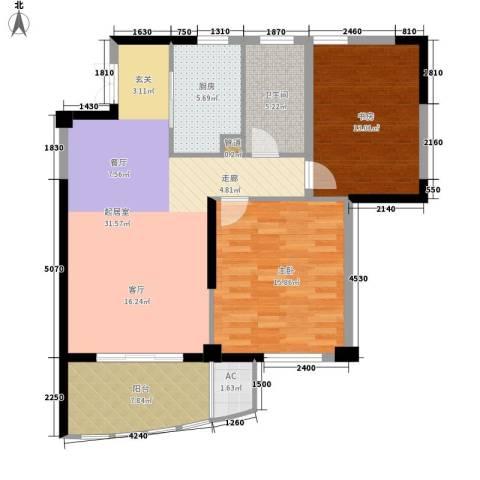 长岛府2室0厅1卫1厨90.00㎡户型图