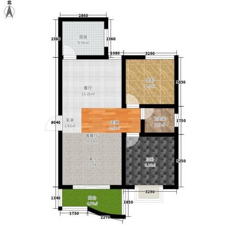海德福苑2室1厅1卫1厨82.00㎡户型图