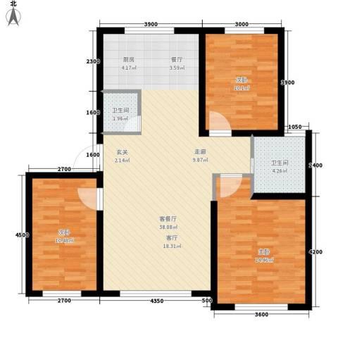 六合・龙城国际3室1厅2卫0厨106.00㎡户型图