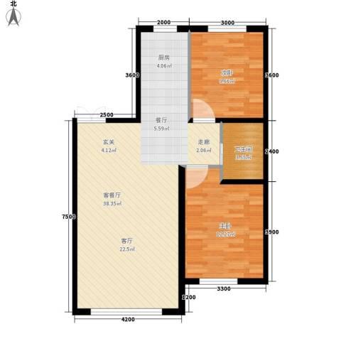 六合・龙城国际2室1厅1卫0厨95.00㎡户型图