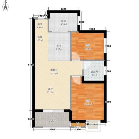 听城2室1厅1卫1厨85.00㎡户型图