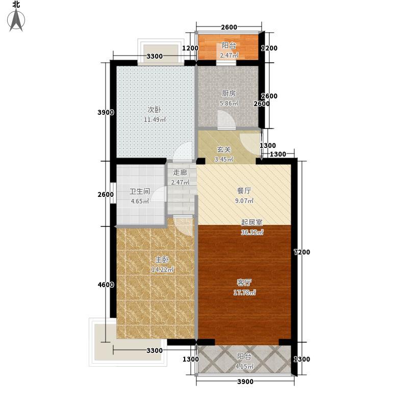 京东领秀城88.90㎡一期1号楼标准层A1户型