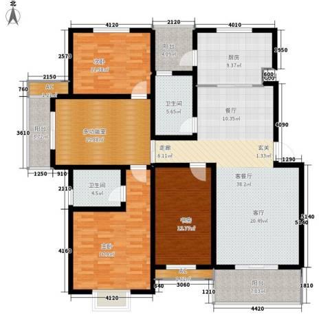 雅荷春天3室1厅2卫1厨172.00㎡户型图