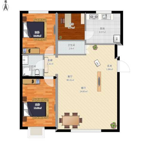 海湖豪庭3室1厅2卫1厨117.00㎡户型图