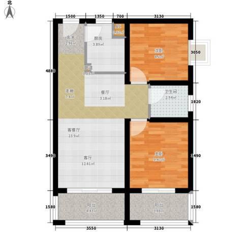 领先心城2室1厅1卫1厨86.00㎡户型图