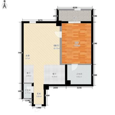 海悦国际1室1厅2卫0厨92.00㎡户型图