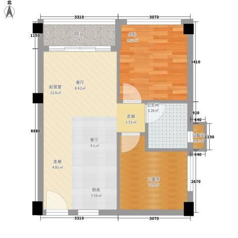 碧桂园空港国际2室0厅1卫0厨52.62㎡户型图