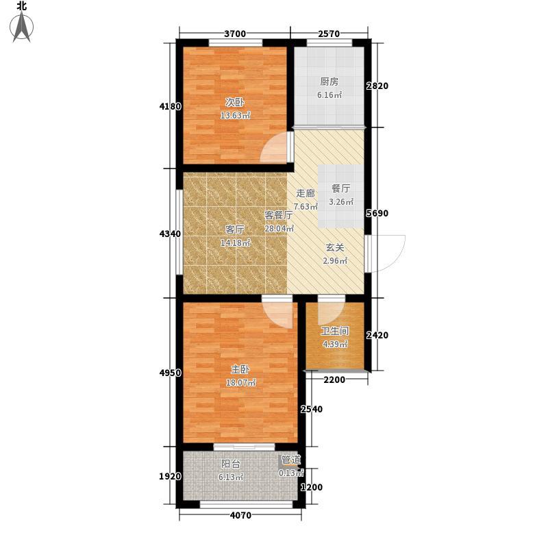 枣强佳润花园2室1厅1卫 76m²户型2室1厅1卫