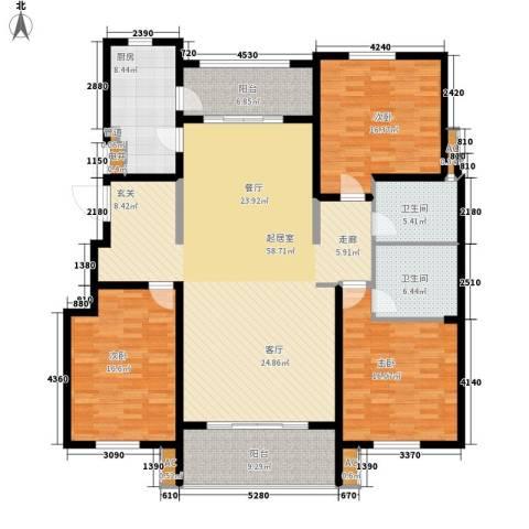 汇福山庄3室0厅2卫1厨206.00㎡户型图