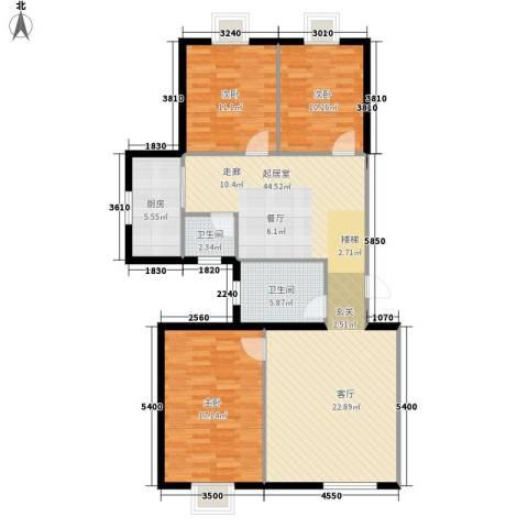 西航花园3室0厅2卫1厨150.00㎡户型图