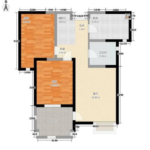 华辰丽景2室1厅1卫1厨93.00㎡户型图