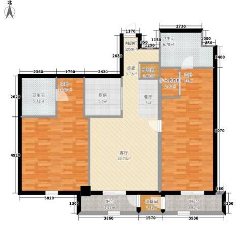 海悦国际2室1厅2卫1厨151.00㎡户型图