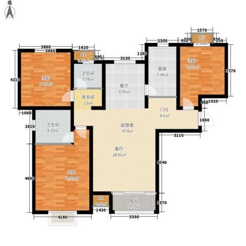 塞纳世家3室0厅2卫1厨129.00㎡户型图