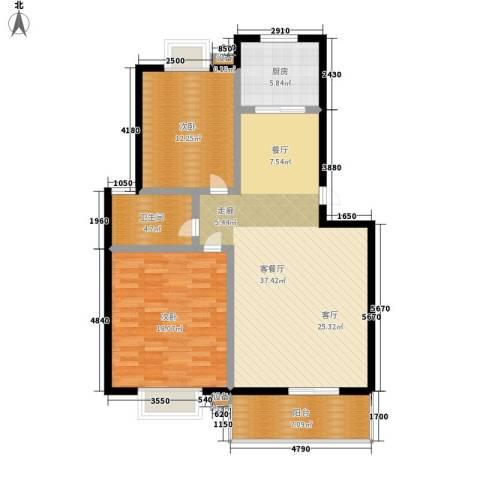 天成国际花园2室1厅1卫1厨97.00㎡户型图
