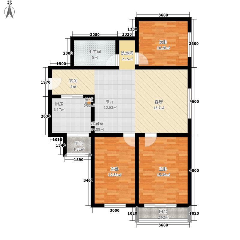 万兴大厦122.00㎡三室两厅一卫两阳台户型