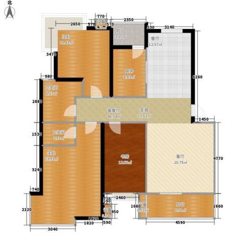 天成国际花园3室1厅2卫1厨132.00㎡户型图