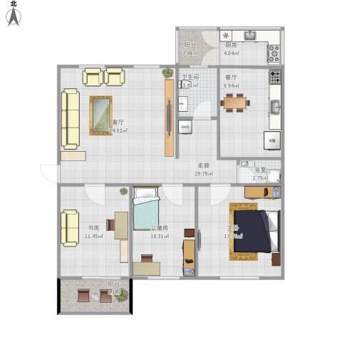 顺义区裕龙花园一区3室1厅1卫1厨123.00㎡户型图